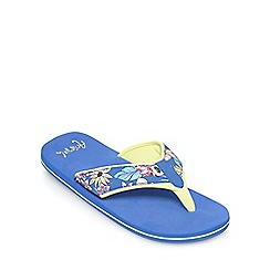 Animal - Girls' blue floral print flip flops