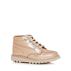 Kickers - Girls' light pink metallic ankle boots
