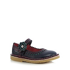 Kickers - Girls' navy flower applique flat shoes
