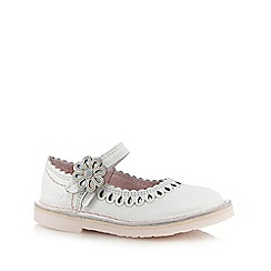 Kickers - Girls' white flower applique flat shoes