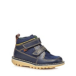Kickers - Boys' navy leather stomper shoes