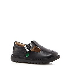 Kickers - Girls' black leather T-bar strap shoes