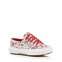 Superga - Girls' white ditsy print lace up shoes