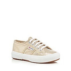 Superga - Girls' gold lace up trainers