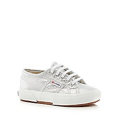 Superga - Silver lace up trainers
