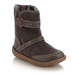 bluezoo - Girl's grey suedette heart studded boots