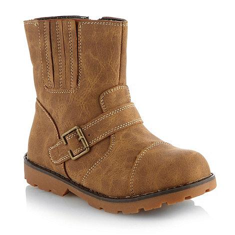 bluezoo - Boys tan chunky buckle boots