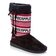 Pineapple girl's black branded fairisle knitted snow boots