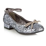 Girl's silver glitter heeled pumps