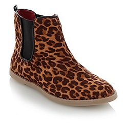 bluezoo - Girl's tan leopard printed chelsea boots