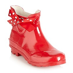 bluezoo - Girl's red ribbon ankle wellies