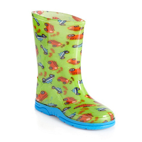 bluezoo - Boys+ green fire engine printed wellies