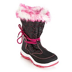 Pineapple - Girl's black star quilted snow boots