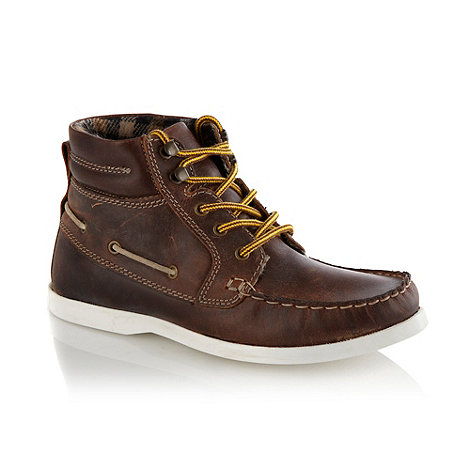 bluezoo - Boys+ brown leather high top shoes