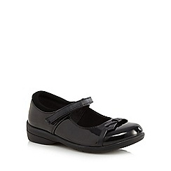Debenhams - Girls' black patent bow applique rip tape shoes