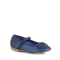 bluezoo - Girls' navy glitter slip-on shoes