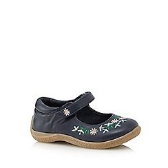 bluezoo - Girls' navy flower embroidered shoes