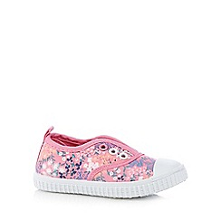bluezoo - Girls' pink floral print slip-on shoes