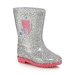 bluezoo - Girls' silver glitter Wellington boots