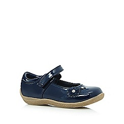 bluezoo - Girls' navy applique flower shoes