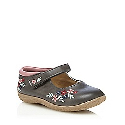 Mantaray - Girls' grey floral applique shoes