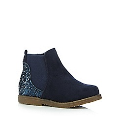 bluezoo - Girls' navy glitter embellished boots