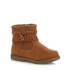 Mantaray - Girls' tan tasselled ankle boots