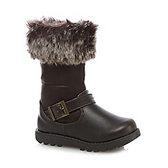 bluezoo - Girls' brown faux fur lined biker boots