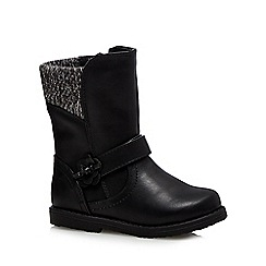 bluezoo - Girls' black knitted cuff boots