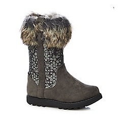 bluezoo - Girls' grey fur trim boots