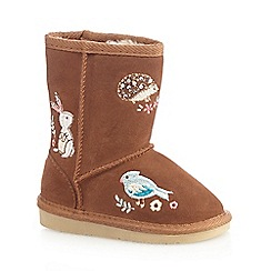 Mantaray - Girls' tan animal embroidered leather boots