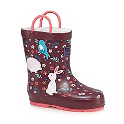 Mantaray - Girls' red 'Woodland' printed wellington boots