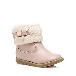 Baker by Ted Baker - Girls' pale pink faux fur ankle boots