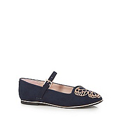 Baker by Ted Baker - Girls' navy textured butterfly wing stitch shoes