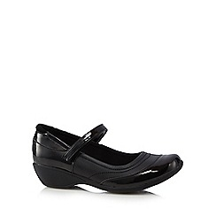 Debenhams - Girls' black patent wedge shoes
