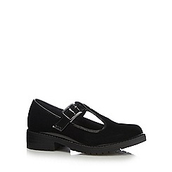 Debenhams - Girls' black patent T-bar school shoes