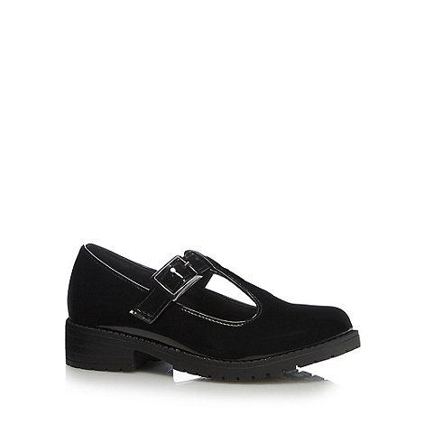 Debenhams - Girls+ black patent T-bar school shoes
