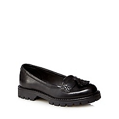 Debenhams - Girls' black leather school shoes