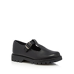 Debenhams - Girls' black leather T-bar shoes