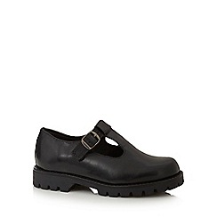 Debenhams - Girls' wide fit black leather t-bar school shoes