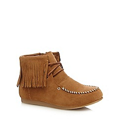 Mantaray - Girls' tan fringed ankle boots