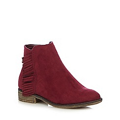 Mantaray - Girls' dark red tassel trim ankle boots