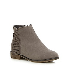 Mantaray - Girls' grey fringed boots