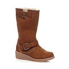 Mantaray - Girls' tan faux suede boots
