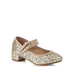 J by Jasper Conran - Girls' gold glitter detail heeled party shoes