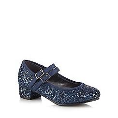 J by Jasper Conran - Girls' navy glitter detail heeled party shoes