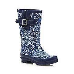 Mantaray - Girls' blue floral wellies