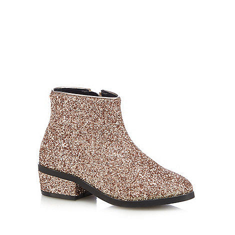 Baker by Ted Baker Girls' rose gold glitter boots | Debenhams