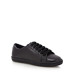 Debenhams - Boys' black leather lace up trainers