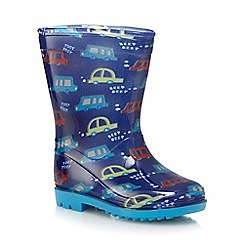 bluezoo - Boys' blue transport print Wellington boots